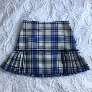 TIBI Checkered Wool Skirt with Cotton Lining